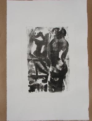 Tamara Sorkin: 'nude and mirror', 2007 Lithograph, Abstract Figurative.