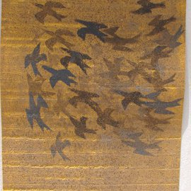 Tamar Sorkin Artwork starlings over fields, 2014 Other Printmaking, Abstract Figurative