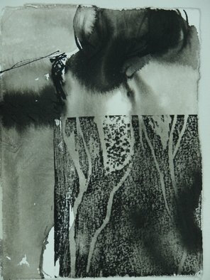 Tamar Sorkin Artwork woocut on ink nude, 2009 Mixed Media, Abstract Figurative