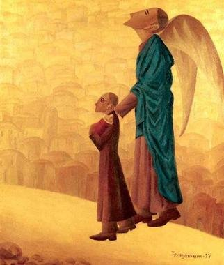 Israel Tsvaygenbaum: 'Boy Leading the Blind Angel', 1997 Oil Painting, Mythology.  The boy in the painting Boy Leading the Blind Angel with a Torah in his hand is leading the blind angel through the desert. The image is based on a dream Tsvaygenbaum had. In his dream, he also saw a vision of the future, where God trusts the human being...