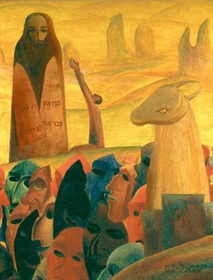 Artist: Israel Tsvaygenbaum - Title: Moses and the Masks - Medium: Oil Painting - Year: 2002