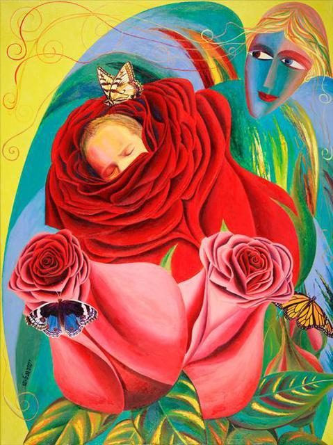 Israel Tsvaygenbaum  'The Angel Of Roses', created in 2012, Original Painting Oil.