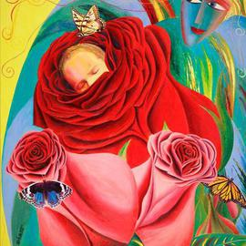 Israel Tsvaygenbaum Artwork The Angel of Roses, 2012 Oil Painting, Floral