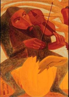 Israel Tsvaygenbaum: 'The Man and Mouse', 1997 Oil Painting, People.  Tsvaygenbaumi? 1/2s painting The Man and Mouse is about a violinist who plays about our life what might happen to us if we lose our values. In the tree, we see a Torah scroll with a mouse on it. The mouse symbolizes the tragedies that people have had and what...