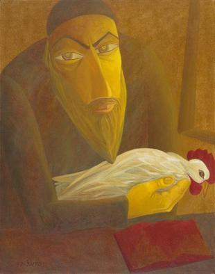 Artist: Israel Tsvaygenbaum - Title: The Shochet with Rooster - Medium: Oil Painting - Year: 1997