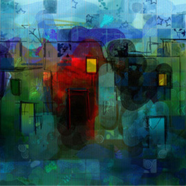 Mohrah Sakr Artwork  Village Festivities , 2004 Digital Art, Abstract Landscape