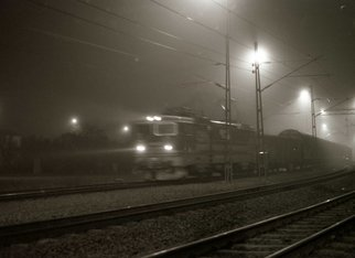 Bengt Stenstrom: 'fog train', 2010 Black and White Photograph, . Photo.  Price is just an example, on foamboard.  Or unmounted. ...