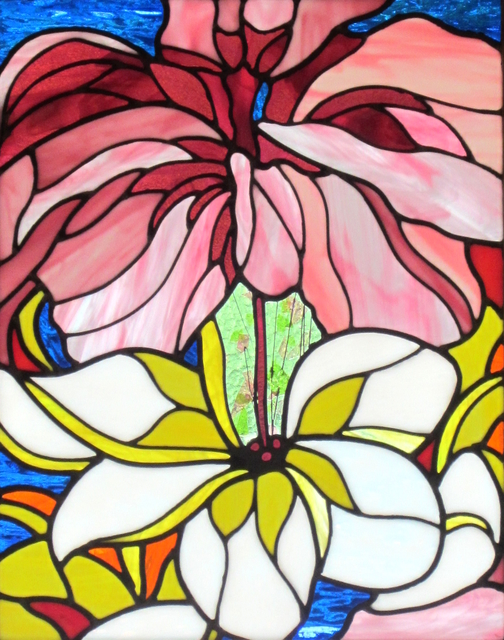 Iva Kalikow  'Hibiscus And Plumeria', created in 2020, Original Glass Stained.
