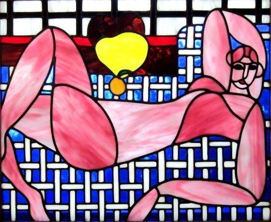 Iva Kalikow: 'Pink Nude', 2018 Stained Glass, nudes. This leaded stained glass art panel was inspired by Matisse.  For Matisse, the platonic relationship between painter and model was a necessity and here it s as though he moves in for a closeup.  I was inspired to capture the beautiful nude form in vibrant pink to accentuate the intimacy ...