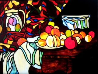 Iva Kalikow: 'Still Life with Flower Holder', 2019 Stained Glass, Still Life. Artist Description: This leaded stained glassart panel inspired by CA(c)zanne, includes 276 hand- cut pieces of 16 different colors and textures of glass.  It is framed in a 2 inch wide oak frame stained red mahogany.  It includes hooks on each side of the frame so it can be ...