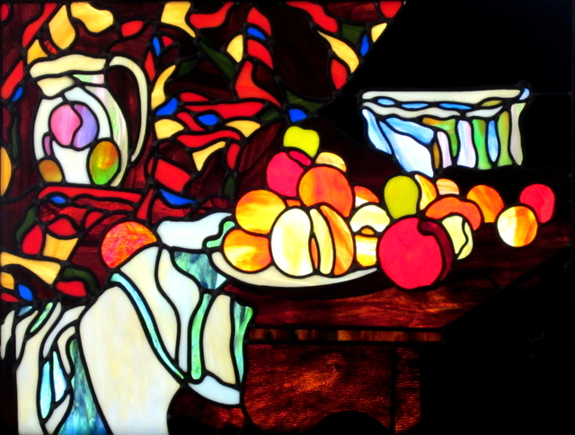 Iva Kalikow  'Still Life With Flower Holder', created in 2019, Original Glass Stained.