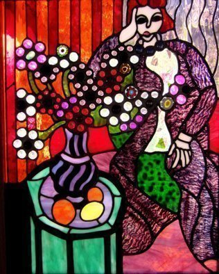 Iva Kalikow: 'Woman in Purple Robe', 2018 Stained Glass, Portrait. This leaded stained glass art panel is inspired by Matisse.  Matisse is known for his masterful use of color and pattern.  I was inspired to bring his colors to life with glass in vibrant orange, red, and of course the focus of the brilliant purple of the robe.  For the ...
