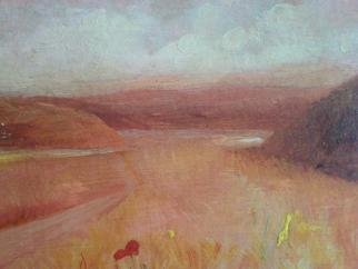 Ivana Andric: 'Fields', 2009 Tempera Painting, Landscape.  tempera painting on wood ...