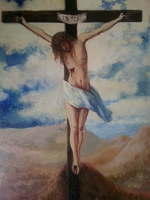 Ivana Andric: 'jesus', 2010 Tempera Painting, Landscape. Artist Description:   tempera painting on wood  ...