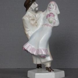 Alexander Iv Ivanov: 'jewish wedding', 2017 Ceramic Sculpture, Judaic. Artist Description: Jewish wedding, porcelain, overglaze painting, humor, Jew, wedding...