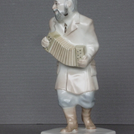 Alexander Iv Ivanov: 'musician 03', 2017 Ceramic Sculpture, Judaic. Artist Description: musician, Jewish wedding, porcelain, overglaze painting, Jew, sculpture...