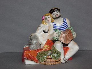 Alexander Iv Ivanov: 'russian bath', 2016 Ceramic Sculpture, Humor. Artist Description: Russian bath,porcelain, overglaze painting, humor, sailor, eroticism...