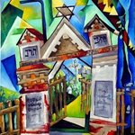 JEWISH CEMETREY, ORIGINAL OIL PAINTING ON CANVAS By Justineivu Justineivu
