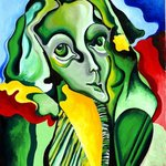 LADY IN GREEN, ORIGINAL OIL PAINTING ON CANVAS By Justineivu Justineivu
