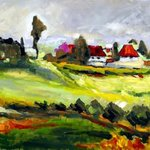 LANDSCAPE WITH RED HOUSE,ORIGINAL OIL PAINTING ON CANVAS By Justineivu Justineivu