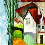 LANDSCAPE WITH RED ROOFS, ORIGINAL OIL PAINTING ON CANVAS By Justineivu Justineivu