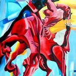 RED HORSE, oil on canvas By Justineivu Justineivu