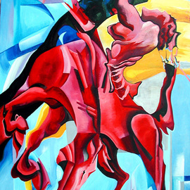 Justineivu Justineivu: 'RED HORSE, oil on canvas', 2006 Oil Painting, nudes. Artist Description:   ORIGINAL OIL PAINTING ON CANVAS                ...