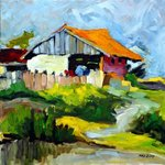 THE LAKE HOUSE, original oil on canvas By Justineivu Justineivu
