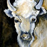WHITE BISON ORIGINAL OIL PAINTING ON CANVA By Justineivu Justineivu