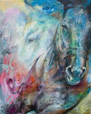 Iwona Jankowski: 'western way mottled horses', 2018 Giclee, Animals. Horse art, animals, art, horse painting, quarter horse, Rodeo, equine art,equestrian, foul, mare, mustang, ...