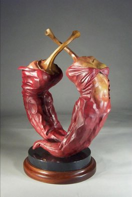 Jack Hill: 'Peppers', 2003 Bronze Sculpture, Fantasy.  The full title of this piece is Red Hot Sex Appeel.  Chili peppers are transforming into human torsos. ...