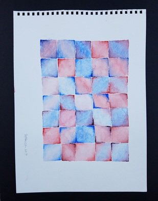 Jake Patrick: 'blue purple red squares one', 2017 Watercolor, .