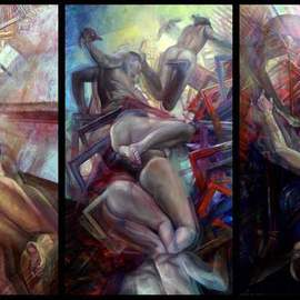 Jakub Kujawa: 'muse lesson', 2007 Oil Painting, Nudes. Artist Description:  Oil on board 360X200 cm ...
