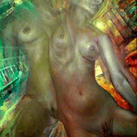 Jakub Kujawa: 'night impression', 2007 Oil Painting, Nudes. Artist Description:  Oil on canvas ...