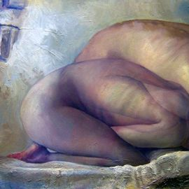 Jakub Kujawa: 'presence', 2007 Oil Painting, Nudes. Artist Description:  Oil on board ...