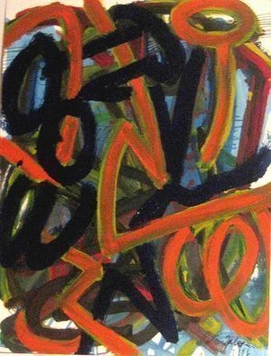 Peter Jalesh: 'circles and arches', 1988 Acrylic Painting, Abstract. Artist Description: acrilyn painting on cardboard...