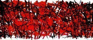 Peter Jalesh: 'garden fence', 2010 Acrylic Painting, Abstract Landscape. Artist Description: red and black  abstract...