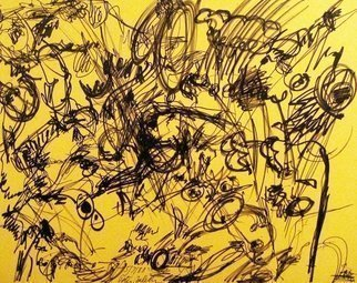 Peter Jalesh: 'landscape', 1996 Marker Drawing, Abstract. Artist Description: Surrealist landscape...