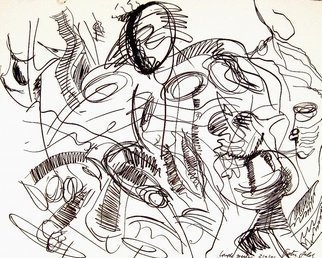 Peter Jalesh: 'portrait of a runner', 1996 Marker Drawing, Abstract. Artist Description: Drawing with marker on a cardboard...