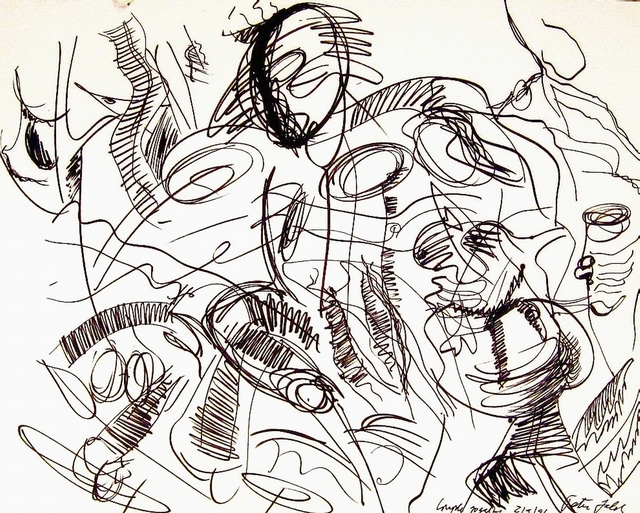 Peter Jalesh  'Portrait Of A Runner', created in 1996, Original Drawing Marker.