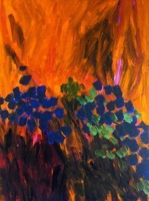 Peter Jalesh: 'sunset landscape with flowers', 2005 Acrylic Painting, Abstract Landscape. Artist Description: A sunset landscape 36 X48 , acrylic on canvas...
