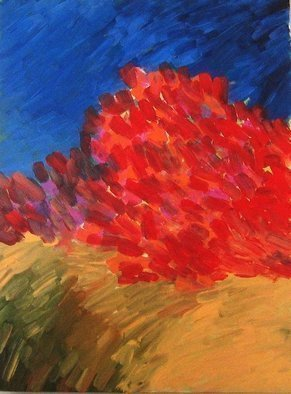 Peter Jalesh: 'wild roses in a whet field', 2009 Acrylic Painting, Abstract Landscape. Artist Description: Macro Impressionist brush strokes, painting on canvas, 48 X36 , abstract, red, blue, yellow...