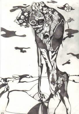 Abstract Figurative Pencil Drawing by Jamie Buchan Title: man and baby, created in 2005