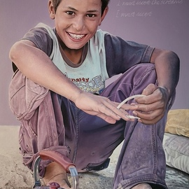 James Earley: 'a conversation', 2020 Oil Painting, War. Artist Description: I wanted to produce a painting that casts a light on the refugee crisis and the terrible suffering that the refugees have had to endure. The portrait is of a Syrian Boy who is now living in a Turkish refugee camp but it could also be of an ...