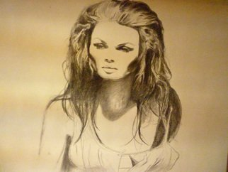 Artist: James Marshall - Title: beautiful girl - Medium: Charcoal Drawing - Year: 2012