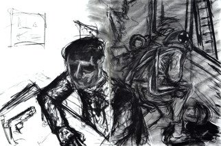 James  Mayor: 'tired of living for two', 2015 Charcoal Drawing, War.