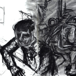 James  Mayor Artwork tired of living for two, 2015 Charcoal Drawing, War