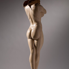 James Mcloughlin: 'Female Figure', 2009 Wood Sculpture, Figurative. Artist Description:  This was carved out of limewood and the scarf and base are walnut.   ...