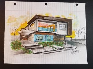 Jameson Brittnellis: 'modern house', 2017 Marker Drawing, Home. Artist Description: This is a modern house I drew and colored on lined paper.  part of my lined paper collection ...