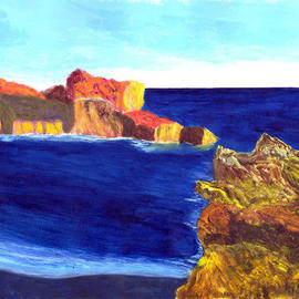 James Parker: 'Afternoon Calm', 2003 Acrylic Painting, Seascape. Artist Description: The warm glow of afternoon sun on ocean rocks combined with a calm dark blue sea produce an overall pleasing effect in this painting. ...